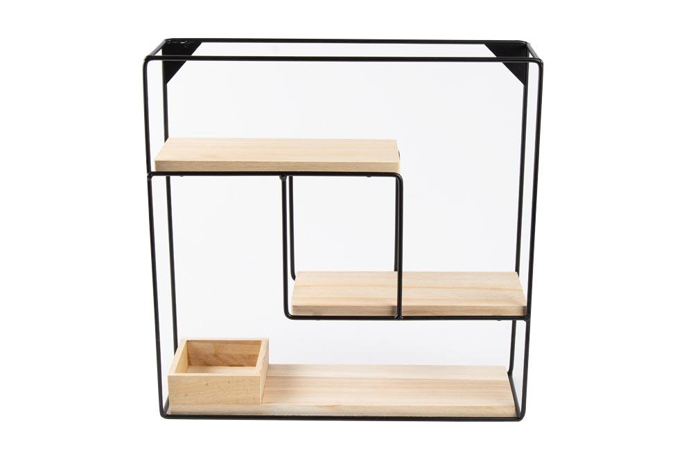 Wall rack Tjorge, 40x40cm, metal/wood