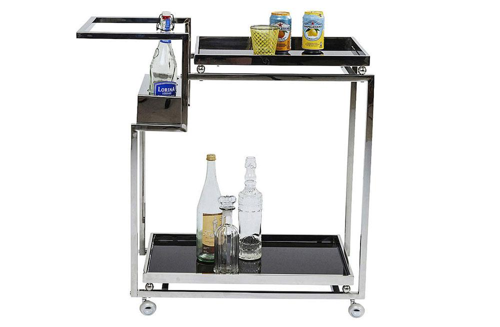 Serving trolley Barfly, silver color, H83x84x40cm