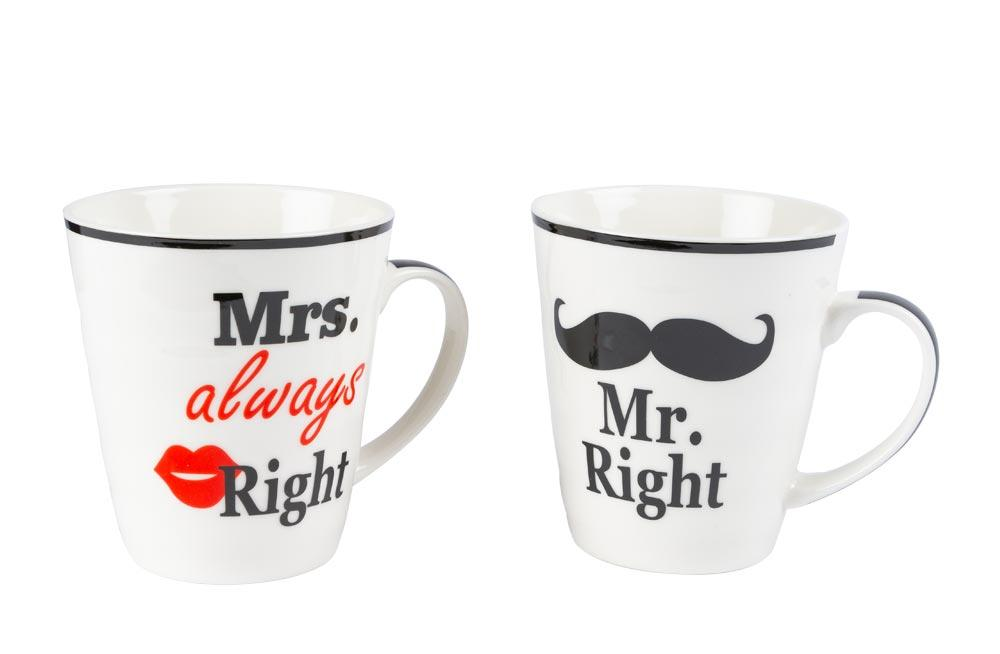 Porcelāna krūžu kompl. Mr Right and Mrs Always Right, 10x9cm, 350ml