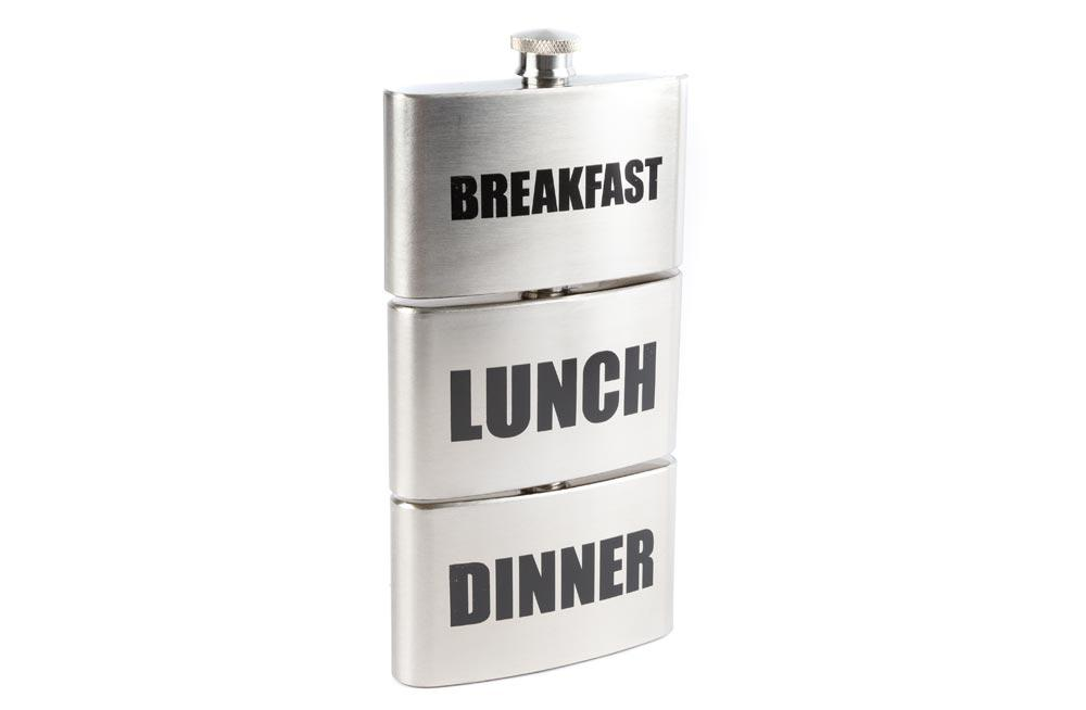 Metal Flask Breakfast-Lunch-Dinner, 3x88ml, 2.2x18.5cm