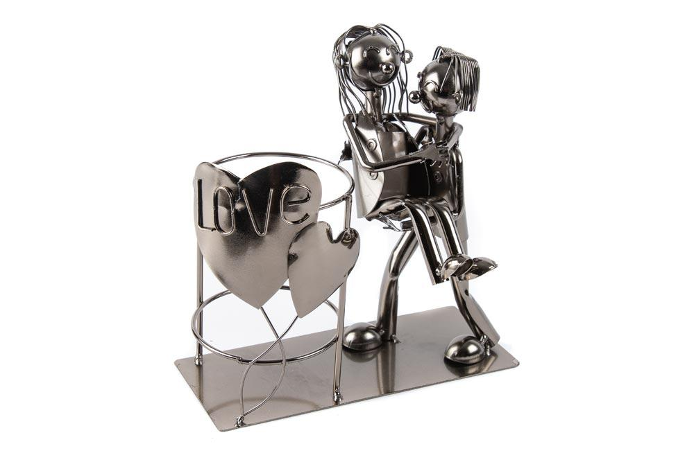 "Metal wine bottle holder ""Lovers III"", 21x20cm"