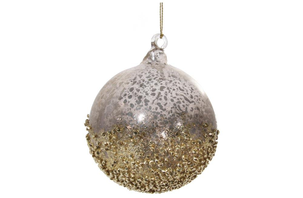 894b0e9cd6f Jõuluehe Glass ball smoked silver/gold with glitter 8cm