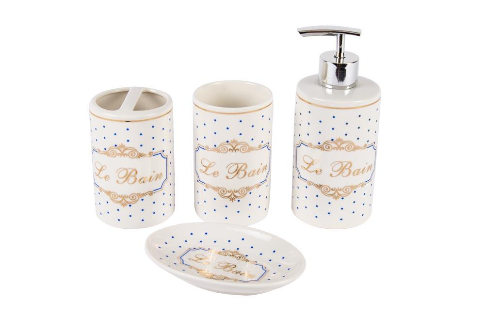 Porcelain bathroom set Le Bain, 4 items in set