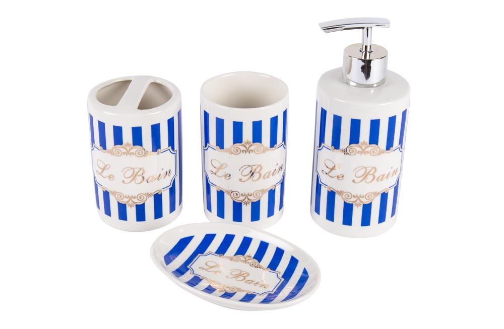 Porcelain bathroom set  Le Bain Stripes, 4 items in set