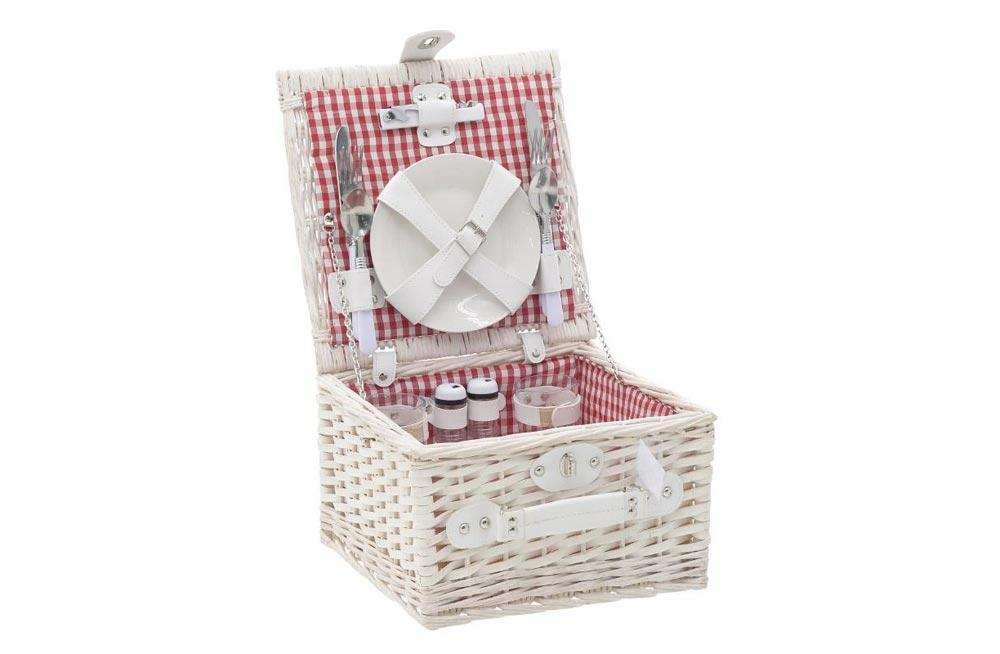 2-Person Willow Picnic Basket, 30x30x18cm