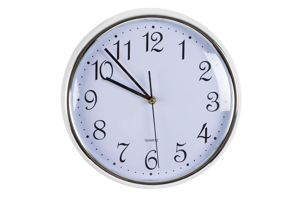Wall clock, silver/white, D30.5x6.5cm
