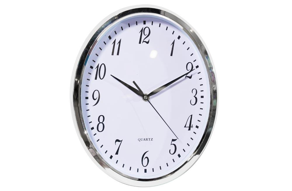 Wall clock, silver/white, oval, 27x5x33cm