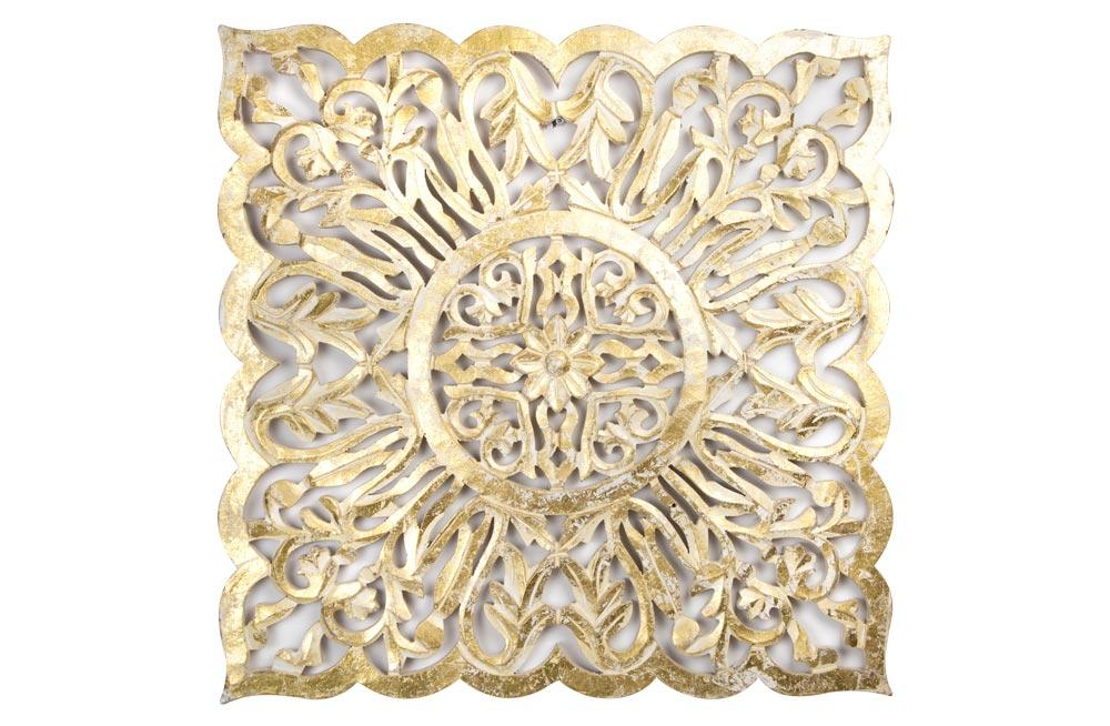 Wooden decorative wall panel antique, white/golden, 60x3x60cm