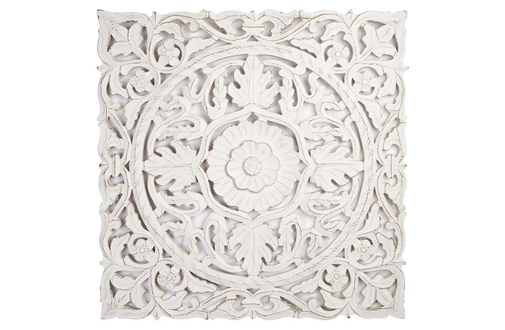 Wooden decorative wall panel, antique/ white, 60x3x60cm