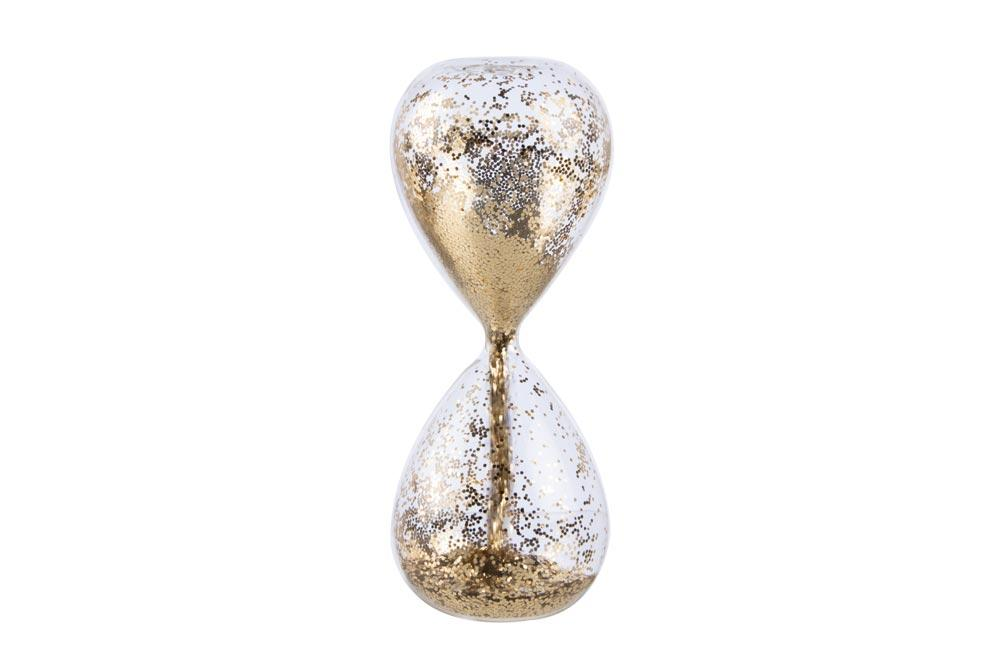 Hourglass clear/golden sand, D6.5, h16.5cm, 5-7 sec.