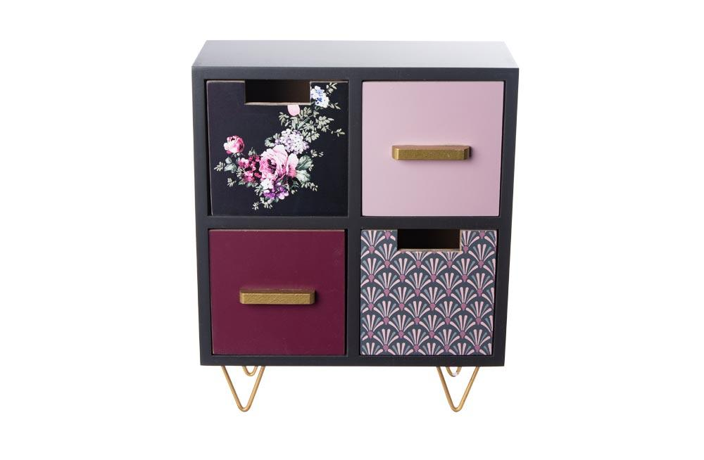 Mini cabinet with 4 drawers, 23x11x27.5cm