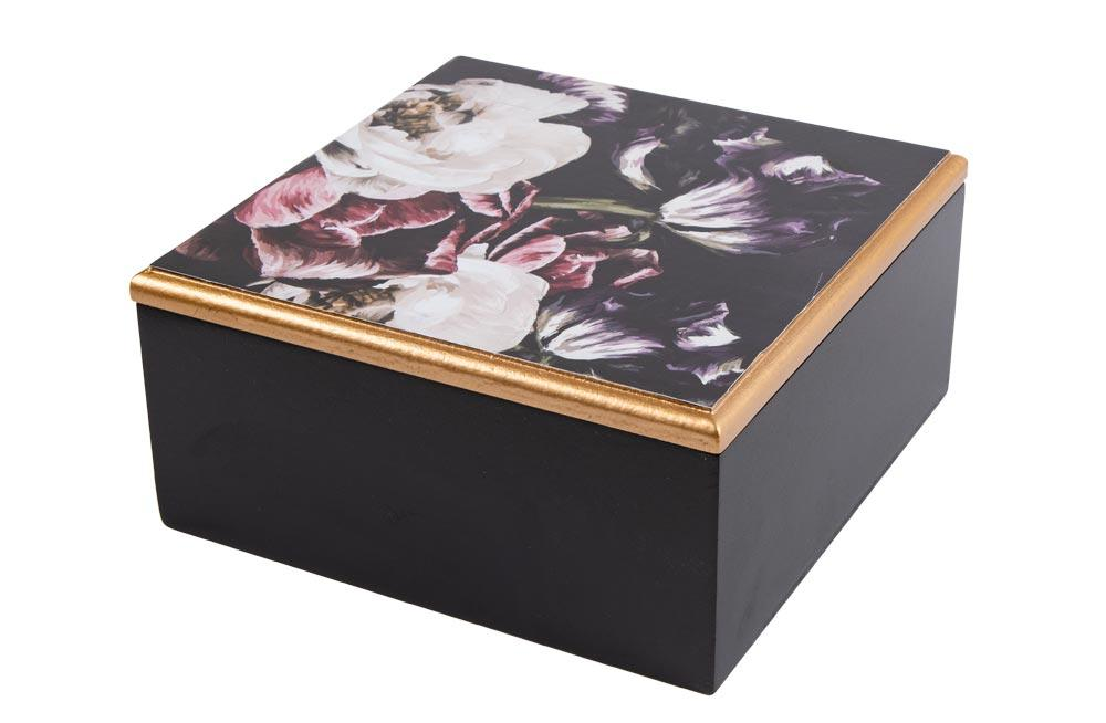 Wooden box Flowers, black, 16x16x7.5cm