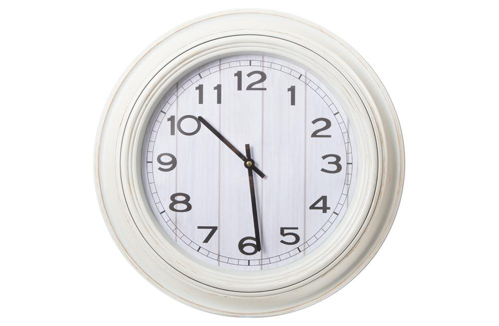 Wall clock, white, D51x5cm