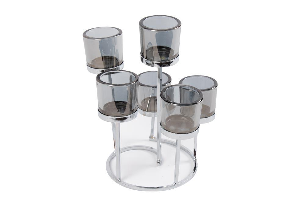 Metallic/glass candle holder, 6-section, silver/grey, 21x21x25cm
