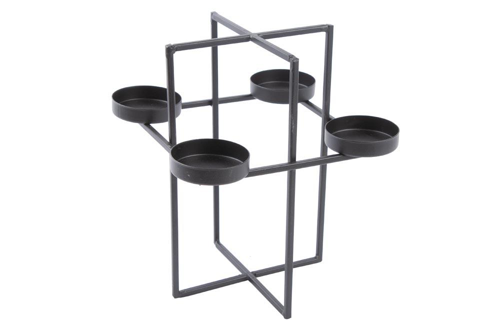 Candle holder for 4 candles, metal/black 18x18x20cm