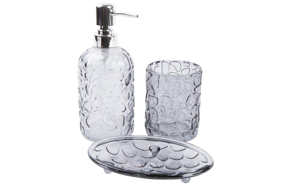 Bath set of 3, glass/grey