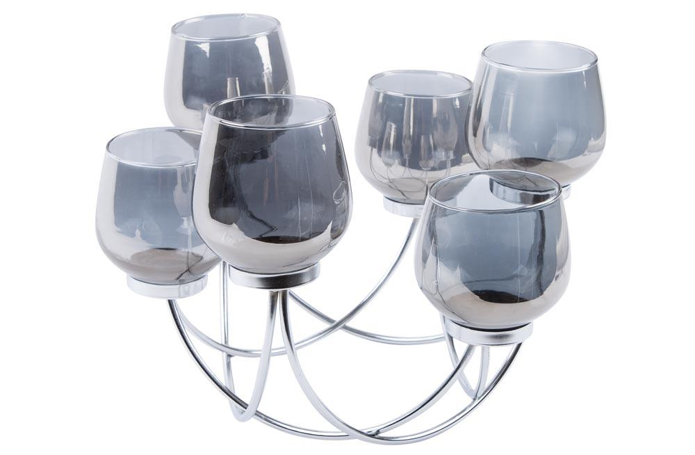 Candle holder for 6 candles, metal/glass, silver/grey colour, 35x3x23cm