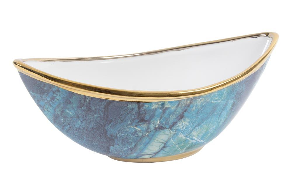 Ceramic decorative bowl, turquoise/golden, 37x16x15cm