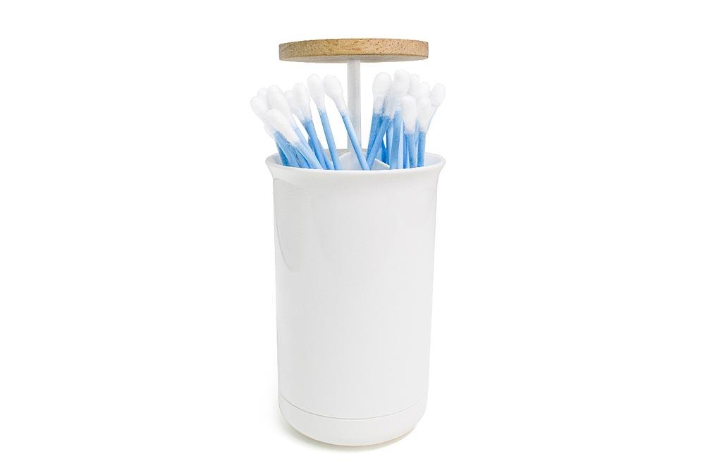 Cotton buds dispenser Push & Up, white, H11,D7cm