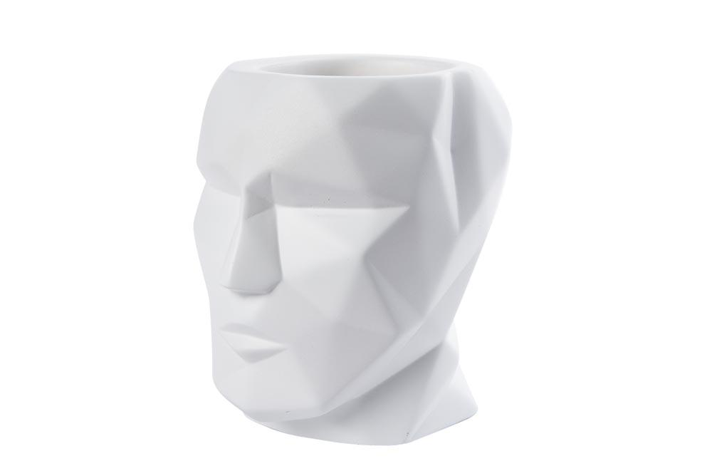 Pen holder The Head, white, H12x12x9cm