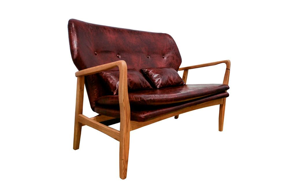 Wooden Chair Wanda 2 Seats Cherry Red Color H87x114x53cm Sofas