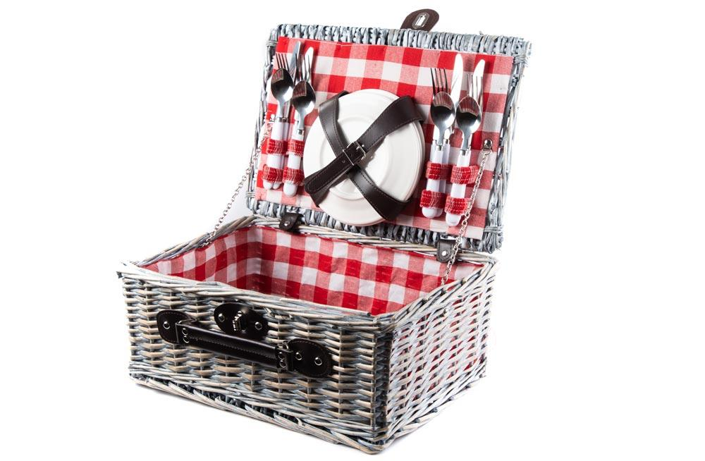 Picnic basket, red, for 4 Person, 40x28x18cm