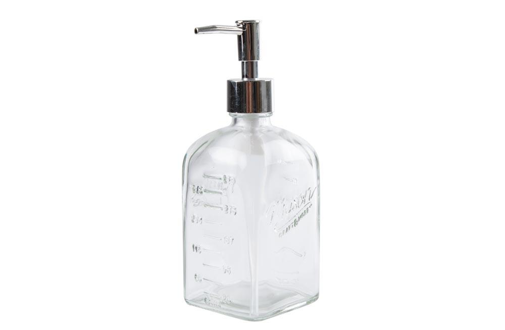 Soap dispenser, clear, glass, H-19.5x7.4x7.4cm