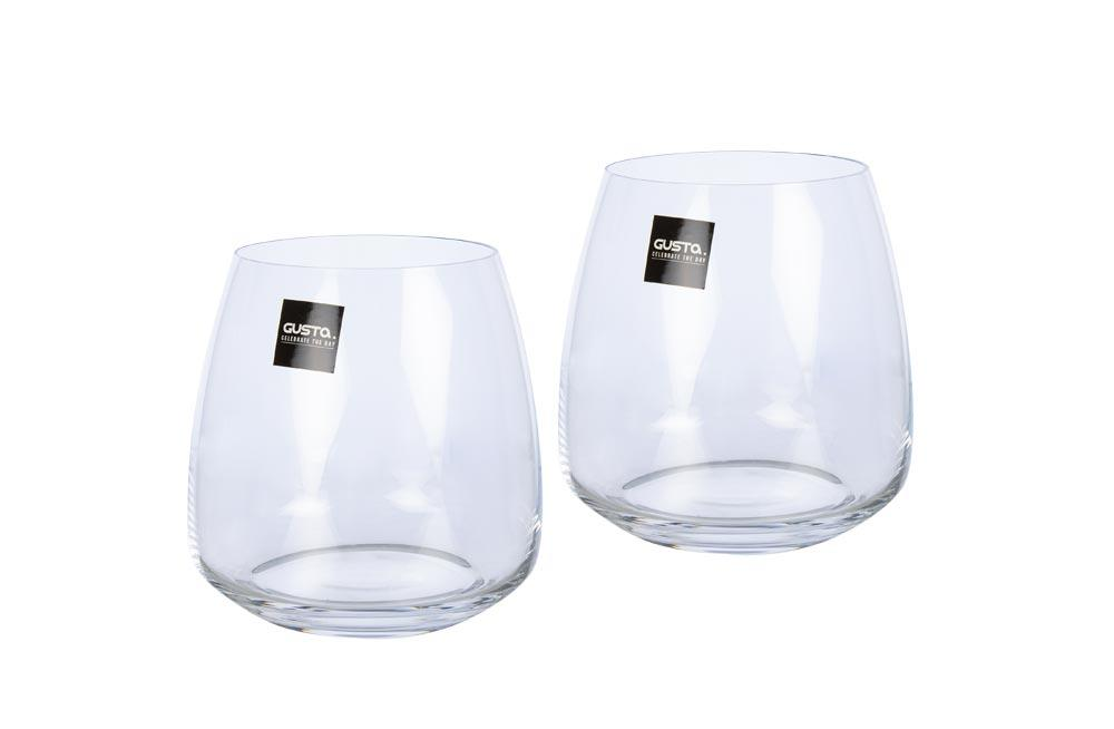 Crystal water glasses, set 2 pcs, 440ml, H-9.5cm, D-9cm