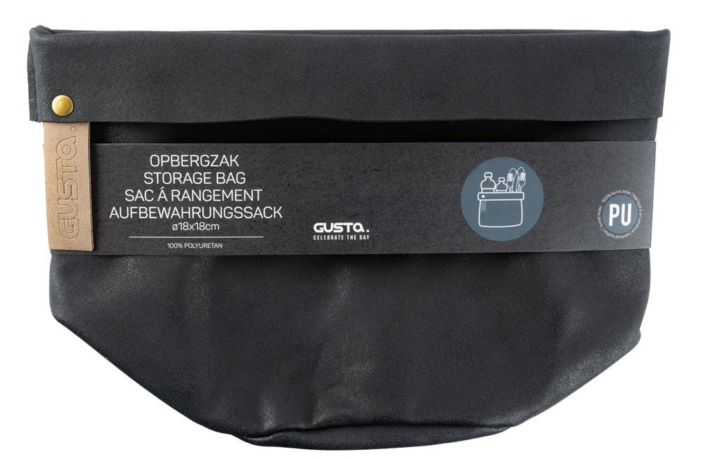 Storage bag D18x18cm, black PU