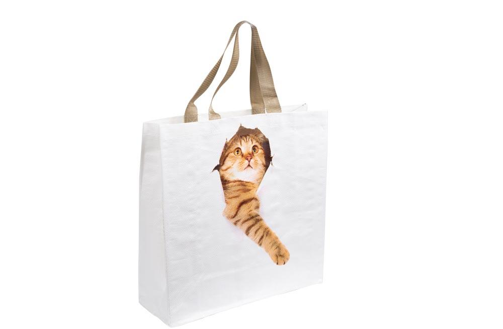 Shopping bag Cat break through, H40x40x14cm