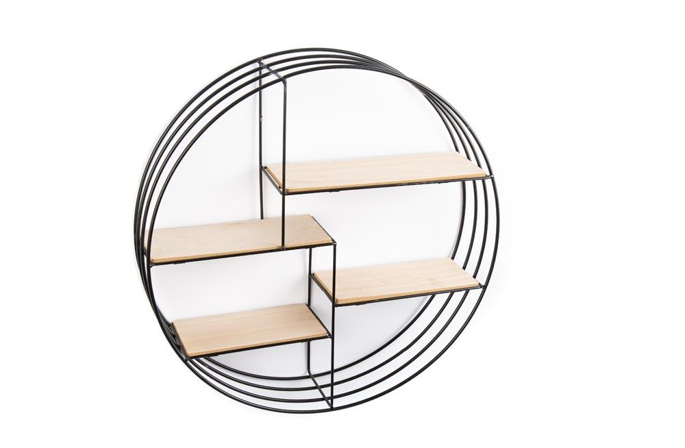 Wall rack round with 4 shelves, D45cm