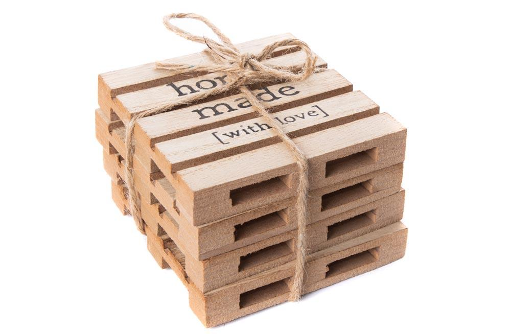 Placemats Pallets, 4 pcs, natural, 10x10cm