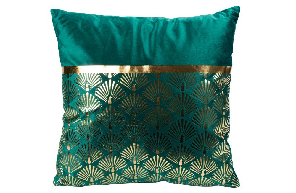 Cushion velvet green/gold, 40x40cm