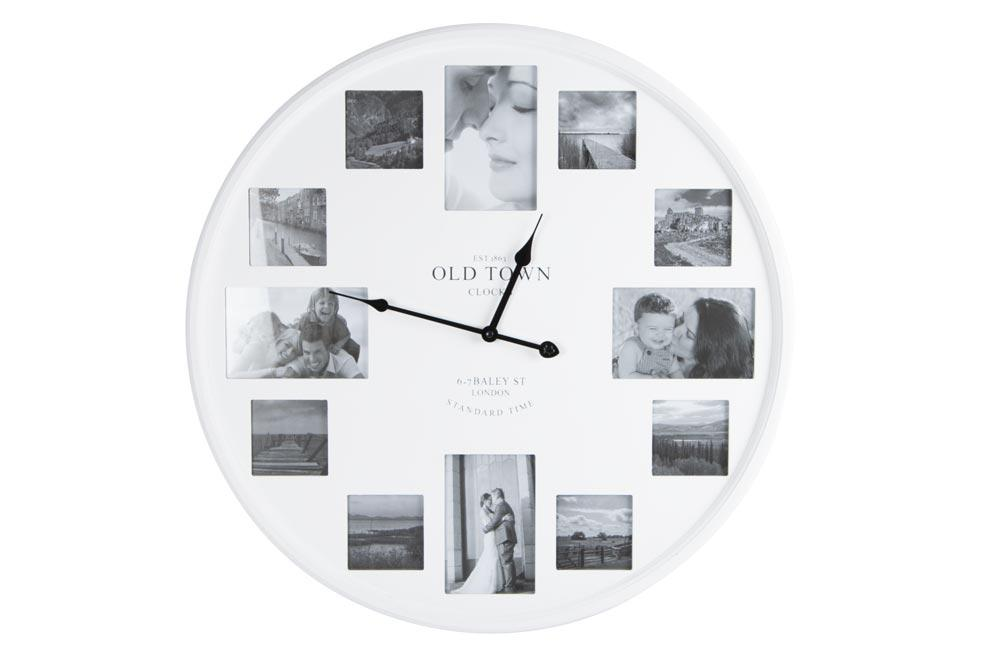 Wall clock, white, for 8 photos 7.5x7.5cm/for 4 photos 9x14cm, D60cm