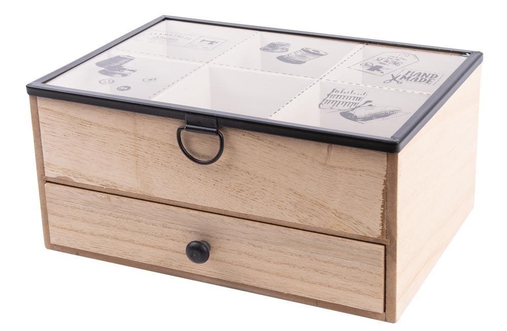 Sewing box with drawer, 24x16x11cm