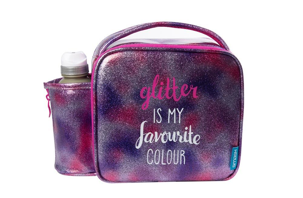 Bag with watter bottle GLITTER, 350ml, H-20x27x10cm