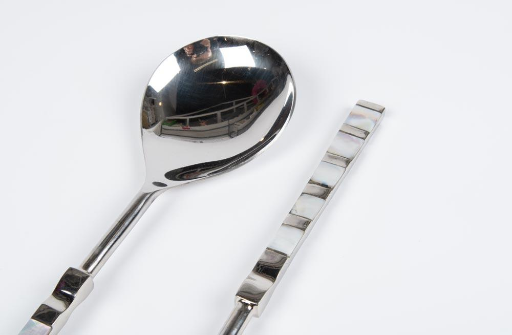 Salad spoon and fork, silver plated, L27cm